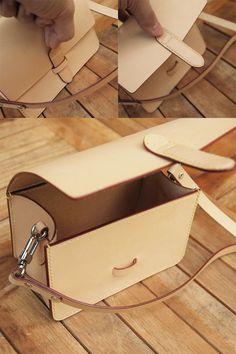 work - JnK. Smaller-Bag. Leather Bag Tutorial, Leather Wallet Pattern, Handmade Leather Wallet, Sewing Leather, Leather Diy Crafts, Leather Projects, Leather Craft, Leather Bag Design, Purses And Handbags