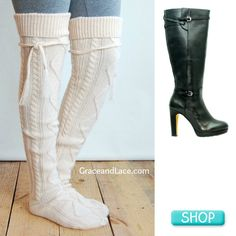 White Boot Socks with tall Black leather boot by Bronx