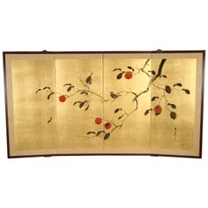 Gold Leaf Japanese Screen  | From a unique collection of antique and modern paintings and screens at http://www.1stdibs.com/furniture/asian-art-furniture/paintings-screens/
