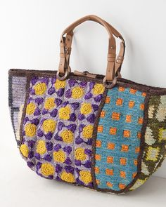 Free Crochet Bag Patterns Part 16 - Beautiful Crochet Patterns and Knitting Patterns Free Crochet Bag, Crochet Tote, Crochet Handbags, Crochet Purses, Granny Square Bag, Granny Squares, Tapestry Crochet, Knitted Bags, Pouch Bag