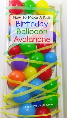 How to make a DIY kids birthday balloon avalanche to make your child feel extra special on their birthday morning. Balloons can fall from the door or ceiling. Fill your child's bucket of love by reminding him how important he is to you on his birthday. The how to video is super cool too! via /funwithmama/