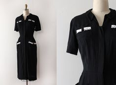 vintage 1950s dress // 50s black dress with by TrunkofDresses
