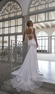 Riki Dalal Wedding Dresses — Valencia Bridal Collection | Wedding Inspirasi | Silk Crepe Lace High Collar Bridal Gown Featuring A Sweetheart Neckline, Double Keyhole Back, & Stunning Lace Trimmed Chapel Length Train××××