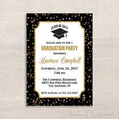Invitación fiesta de graduación negro y oro brillo confeti