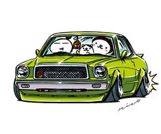 """car illustration """"crazy car art"""" jdm japanese old school """"BUTAME CHASER"""" original characters """"mame mame rock"""" / © ozizo Official web shop """"STAY CRAZY (in Society6)"""" Official web shop """"ozizo(in Redbubble"""") """"Crazy Car Art"""" Line stickers """"Crazy car Art""""..."""