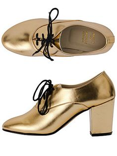 American Apparel - Metallic High Heel Bobby Leather Lace-Up Shoe - Gold $95.00