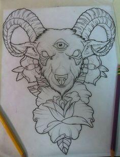 dessin-tatouage-capricorne-3-yeux-fleurs