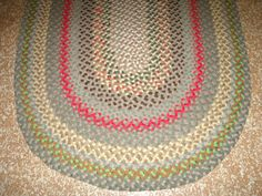 Vintage Antique Hand Handmade Oval Wool Braided Rug 60 X 45 Small Braids And Antiques