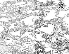 Toad Hall and surrounding environs from Wind in the Willows. This lovely image of the map is accompanied by a thoughtful blog posts on books that contain maps, and their importance to the reading experience.