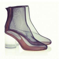 aclockworkorange:   Mesh boots with a crystal clear heel by Maison Martin Margiela
