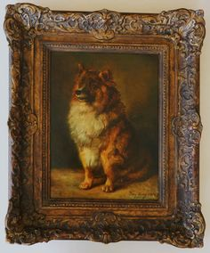 19C oil painting of a Pomeranian    dog by French artist Antoine    (Tony) Dury (1819-died circa 1896),    signed and dated 1888.   See this great painting at www.antiquepooch.com.