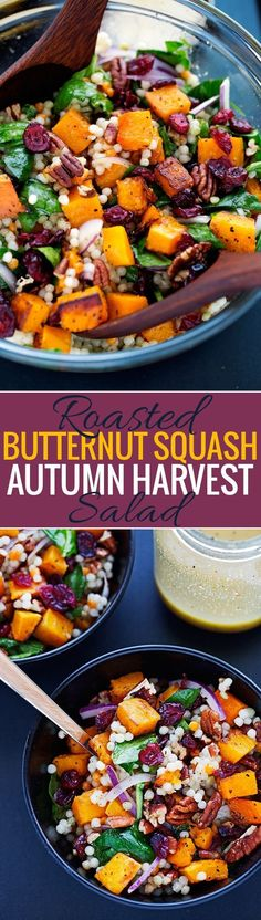 Autumn Pearl Couscous Salad with Roasted Butternut Squash - Tossed in a light dijon vinaigrette. This salad is hearty and filling! #Vegetariancooking