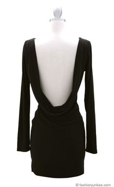 :As Seen In US WEEKLY: Backless, Draped Back Boat Neck Long Sleeve Mini Dress-Black