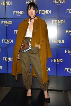 Margaret Zhang arrives at the Fendi show during Milan Fashion Week Fall/Winter 2016/17 on February 25 2016 in Milan Italy
