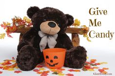 """Brownie Cuddles does love his sweets... and he asks that you ignore any """"Do Not Feed The Bears"""" signs! Happy Halloween from GiantTeddy.com"""