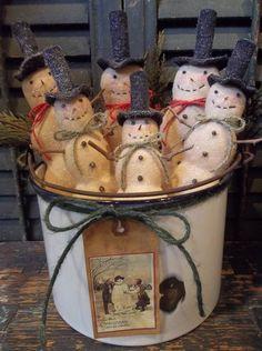 Gathering of Primitive Handmade Snowmen in Vintage Enamelware Pail