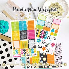 New!! Panda Stickers | 3 Page Mini Kit | ECLP, MAMBI, Kikki K, Kate Spade, Filofax, Websters, Color Crush