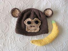 Knitted Banana Photo Prop Monkey Hat Photo Prop Knitting Knit Baby Hat Knitted Baby Hats Knitted Animal Hat Monkey Baby Hat by CottonPickings on Etsy