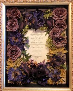 Wedding Bouquet Preserved Flower Shadow Box by Leigh Florist - http://leighflorist.net/floral-preservation.html