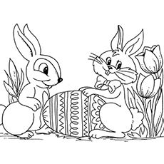 Coloring Sheet of Easter Bunnies with Easter Egg in Garden