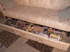 rv sofa with tote storage