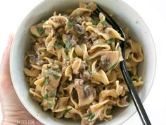 This super easy One Pot Beef and Mushroom Stroganoff is a delicious and comforting weeknight dinner. BudgetBytes.com