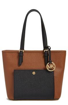 Brown Colorblock Saffiano Leather Tote