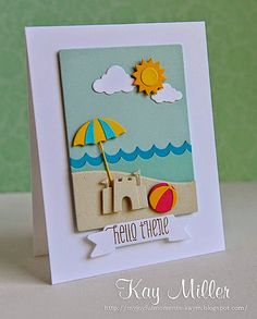 card beach summer sand castle sun clouds sea seashore ocean umbrella bucket play vacation relax - Taylored Expressions dies for this card. Umbrella Cards, Nautical Cards, Beach Cards, Cricut Cards, Marianne Design, Card Making Inspiration, Cards For Friends, Kirigami, Copics