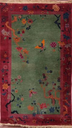 "CHINESE ""PEKING"" HAND WOVEN ART DECO RUG : Lot 868"