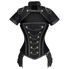 ND-186 - Black Military Inspired Corset with Pouch and Matching Jacket