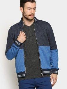 abof Men Blue Melange Regular Fit Sweatshirt Ocr B, All About Fashion, Bomber Jacket, Sweatshirts, Fitness, Jackets, Blue, Men, Down Jackets