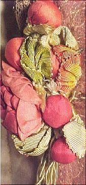 Pink Gossamer Silk Chiffon Gown [detail of silk rosebuds], by Jeanne Hallee, c. 1912, Antique Dress