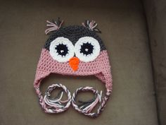 Pink and grey owl Crochet Hats
