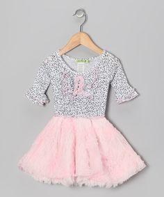 Pink Leopard Faux-Fur Ruffle Dress - Infant, Toddler & Girls