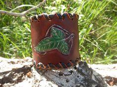 Wide leather bracelet Elven leaf wide leather by RozaBracelets
