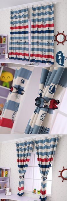 Chinese Curtains Free Shipping! 2 Meter Length The Mediterranean Style of  Boy's Bedroom Blackout Curtain.