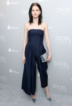 Model Katlin Aas in an amazing strapless Dior jumpsuit