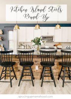 A round-up of the best kitchen island stools! Boho, Farmhouse and Mid Century Modern bar stools and counter stools for your Kitchen! #kitchendesign #kitchenstools #barstools #counterstools #kitchendecor #bohodesign #farmhousedesign #roundup #whitecabinets #navywall #accentwall Stools For Kitchen Island, Counter Stools, Kitchen Islands, Farm House Bar Stools, Farmhouse Style Bar Stools, Farmhouse Design, Light Grey Wood Floors, Diy Home Interior, Interior Design