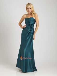 Dark Teal Prom Dresses Long,Teal Strapless Maxi Dress With Ruffled Top