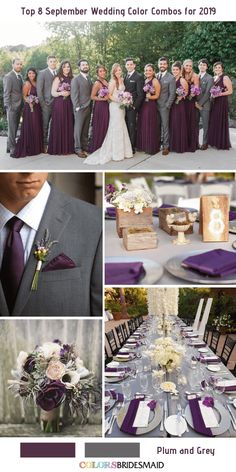 Top 8 September Wedding Color Combos for 2019 - Plum Grey. Top 8 September Wedding Color Combos for 2019 - Plum Grey. Plum Wedding Colors, Wedding Color Schemes, Grey Purple Wedding, Plum Wedding Decor, Plum Purple, Pink, September Wedding Colors, September Weddings, Wedding Themes
