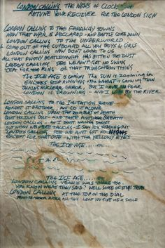Joe Strummer's handwritten lyrics for London Calling, 1979