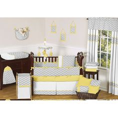Your baby will have sweet dreams when laying in a crib fitted with this neutral nine-piece crib bedding set. This set comes with everything you need and features a zig-zag design with a grey and yellow color scheme that is good for both boys and girls.