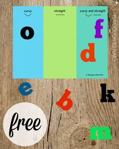 Free ABC sorting mat. Is the letter curvy, straight or both? Simple, fun way to introduce letters.