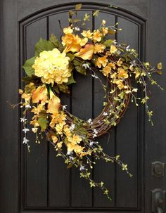 Spring Wreath Summer Wreath Floral White Green Branches Door Wreath Grapevine Wreath Decor-Yellow-Lilies Wispy Easter-Mothers Day by AnExtraordinaryGift on Etsy