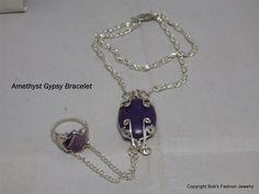 Amethyst Ring Gypsy Bracelet Gypsy Bracelet by BobsFashionJewelry on Etsy