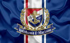 Download wallpapers Yokohama Marinos, 4k, Japanese football club, logo, emblem, J-League, football, Yokohama, Kanagawa, Japan, silk flag, League Division 1, Japan Football Championship