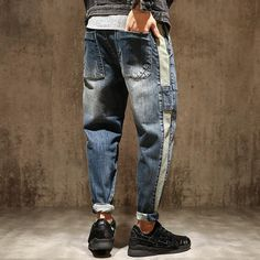Item Type: Jeans Gender: Men Material: Denim Pattern Type: Patchwork Thickness: Midweight Style: Casual Length: Full Length Fabric Type: Plaid Jeans Style: Harem Pants Closure Type: Elastic Waist Fit Type: Loose Model Number: MK0001 Decoration: Pockets Waist Type: High Wash: Light