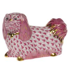 Herend Hand Painted Porcelain Figurine of Pekingese, Done in Raspberry Fishnet w Gold Accents. Dog Pounds, Scully And Scully, Lion Dog, Scale Design, Crystal Vase, Hand Painted, Painted Porcelain, Gold Accents, Hungary