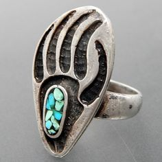 Native American Turquoise Chip Inlay Bear Paw Design Sterling Silver Ring - Size 6