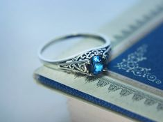 Filigree Blue Sapphire Promise Ring in Sterling Silver